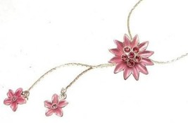 Fashion necklace pink floral design IAS151 - $16.93