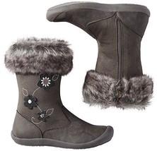 Hanna Andersson Baby Girl's Brigitta Gray Faux Fur Boots Shoes 8 Medium ... - £22.78 GBP
