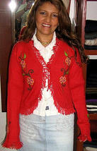 Red cardigan,jacket made of pure Babyalpaca wool  - $129.00