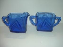 Cobalt Glass Chevron Pattern Cream & Sugar - $29.99