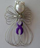 Purple Ribbon Awareness Angel Ornament Handmade - $8.00