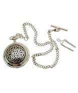 Solid Pewter fronted mechanical skeleton pocket watch - Celtic knot design - $122.50