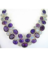 Faceted Blue Flash Moonstone Tears + Purple Ame... - $400.32