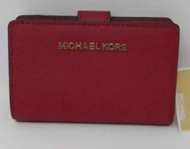 MICHAEL Michael Kors Jet Set Travel Bifold Zip Coin Wallet In Scarlet BR... - $68.30