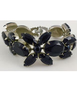 WEISS Black Glass and Silver-Tone Vintage BRACELET - 7 inches long - FRE... - $65.00