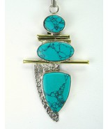 3 Cabochons - 2 Ovals + Shield - of Blue-Green Turquoise Sterling Silver... - $123.00