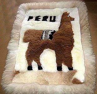 Motive Alpaca fur rug from Peru,carpet 35 x 23 Inches