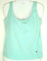 Vtg 90s Tommy Hilfiger LARGE Blue Beaded Stretch Tank Top Sleeveless Wom... - $9.85