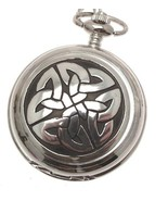 Celtic knotwork pocket watch pewter fronted mechanical design 68 [Watch] - $117.60