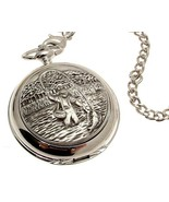 Solid pewter fronted quartz pocket watch - Fly Fishing design 27 [Watch] - $88.20