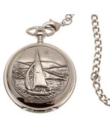 Solid pewter fronted mechanical skeleton pocket watch - Sailing design 28 - $122.50