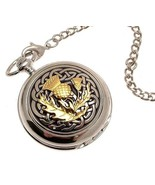Pocket watch - Solid pewter fronted quartz pocket watch - Two Tone celti... - $88.20
