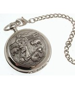 Pocket watch - Solid pewter fronted mechanical skeleton pocket watch - S... - $122.50