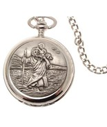 Pocket watch - Solid pewter fronted quartz pocket watch - St Christopher... - $88.20
