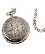 Solid pewter fronted mechanical skeleton pocket watch - Rampant Lion des... - $122.50