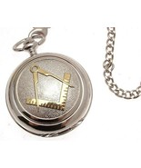 Pocket watch - Solid pewter fronted quartz pocket watch - Two tone Mason... - $88.20