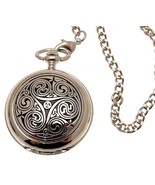 Solid pewter fronted mechanical skeleton pocket watch - swirl design 1 [... - $122.50