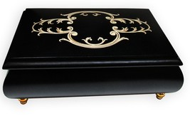 "Italian Music Box, 6"", Arabesque Inlay, Black - $219.95"