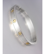 CLASSIC STYLE Silver Metal Gold Screws Hinged Bangle Bracelet - £14.90 GBP