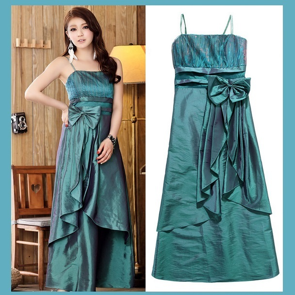 Satin Shimmer Duo Color Formal Ruffles Evening Prom Gown w/ Spaghetti Straps