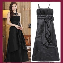 Satin Shimmer Duo Color Formal Ruffles Evening Prom Gown w/ Spaghetti Straps  image 2
