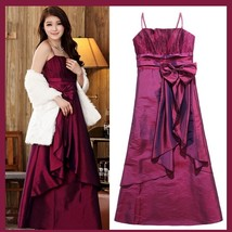 Satin Shimmer Duo Color Formal Ruffles Evening Prom Gown w/ Spaghetti Straps  image 3