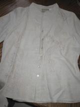 Womans M Beige Liz Claiborne Linen Button Down Jacket Tunic Shirt Top Embroide Ry - $14.99