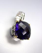 Designer Style Silver Gold Balinese Filigree Sapphire Blue CZ Crystal Pendant - $26.99
