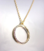 SHIMMERY 18kt Gold Plated CZ Crystals Oprah Eternity Ring Pendant Necklace - €18,73 EUR