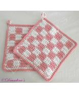Rose Pink & White Buffalo Checked Crochet Pot Holders Kitchen Hot Pads F... - $16.99