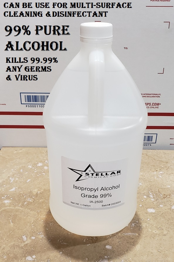 Isopropyl Alcohol 99% 1 Gallon Sanitizer anything, Disinfectant Kill 99.99% Germ