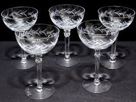 "5 FOSTORIA Holly Clear Cut Crystal Pedestal Champagne/Tall Sherbet  5 5/8"" - $19.92"