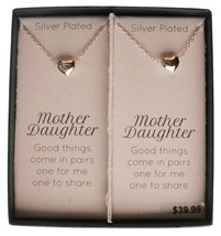 "A Pair of 16"" +2"" Silver Plated Mother Daughter Puff Heart Pendant Necklaces NIB image 2"