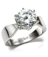 STAINLESS STEEL 3.35 CT ROUND SOLITAIRE BRIDAL CZ ENGAGEMENT RING - SIZE... - $14.99