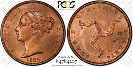 1839 Isle of Man 1/2 Halfpenny PCGS MS63 Red Brown Lot#G586 Choice UNC! - $187.00