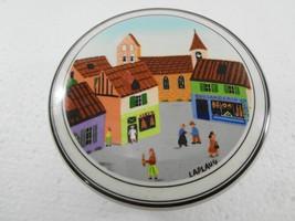 "Villeroy & Boch Naif Village Square Porcelain Trinket Box 4"" Round x 2"" ... - $30.40"