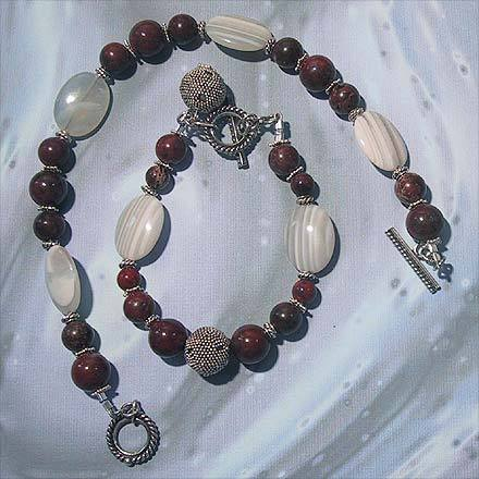 Poppy Jasper and Banded Agate Anklet and Bracelet Set