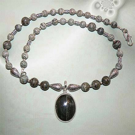 Sterling Silver Green Zebra Jasper Necklace