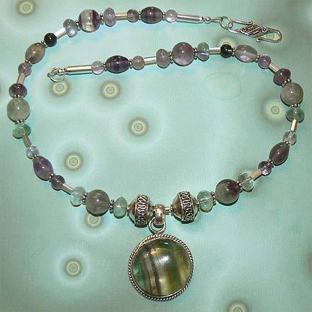 Sterling Silver Striped Fluorite Necklace