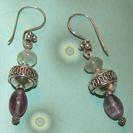 Sterllng Silver Striped Fluorite Earrings