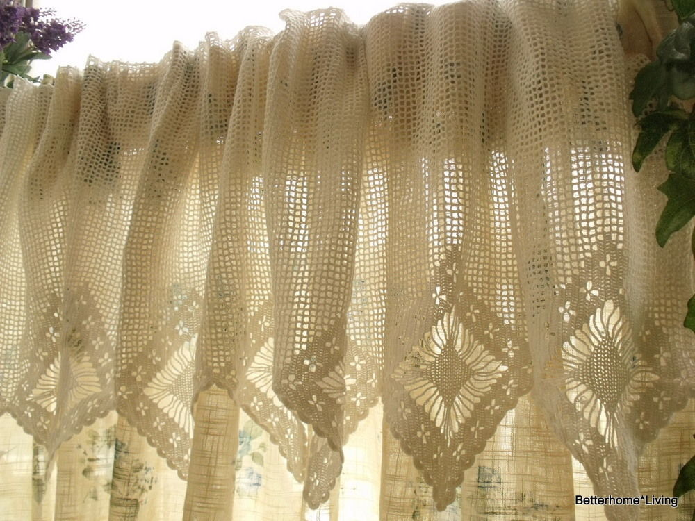 French Chic 20x200 Quot Wide Vtg Hand Crochet Lace Valance