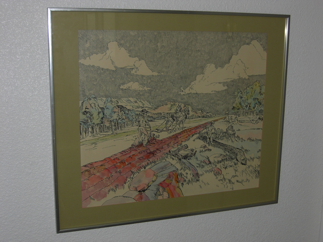 MAN WITH HORSES Signed Framed Print by J Bush
