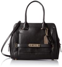 Coach Swagger Frame Satchel Smooth Leather Handbag Black 37182 - $237.59