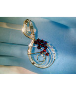 Swarvoski Ruby Red and Ice Crystal Pendant Handcrafted - $40.00