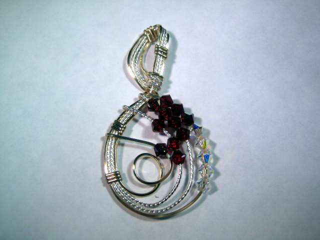Swarvoski Ruby Red and Ice Crystal Pendant Handcrafted