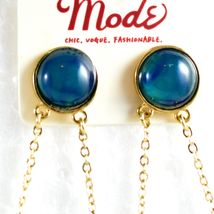 """Mode Blue Shourouk Style Look Lucite 2.75"""" Drop Dangle Post Earrings New w Tag image 3"""