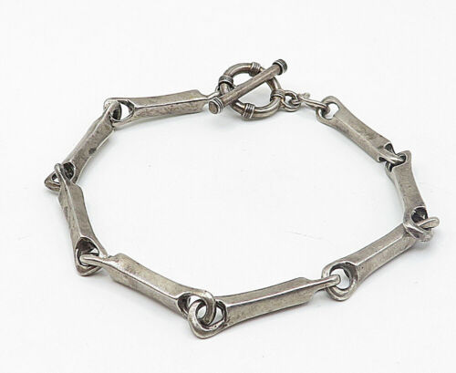 925 Sterling Silver - Vintage Smooth Bone Link Style Chain Bracelet - B5021
