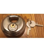 Heavy Duty Hardened Stainless Steel Discus Circular Round Shackle Padloc... - $9.99