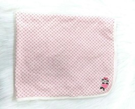 Little Me Monkey Baby Blanket Pink Flowers Cotton Receiving Security Girl B71 - $9.99