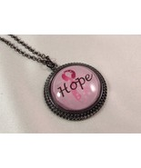 Breast Cancer Awareness Pink Ribbon Round Glass Tile Necklace Pendant with Chain - $10.95